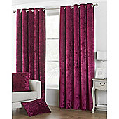 Riva Home Crushed Velvet Verona Eyelet Curtains - Red
