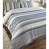 Blue Stripe Double Duvet, 100% Brushed Cotton - Plymouth