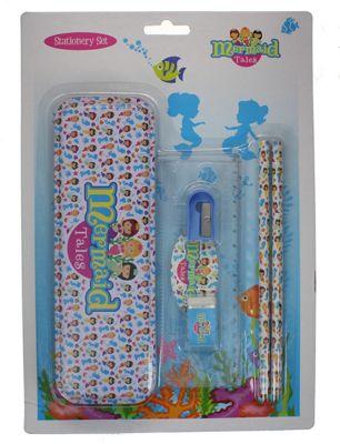 Mermaid Tales 6pc School Stationery Set Tin Case Ruler Sharpener Rubber Pencils