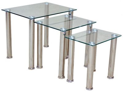 Togo Clear Glass Nest of 3 Tables