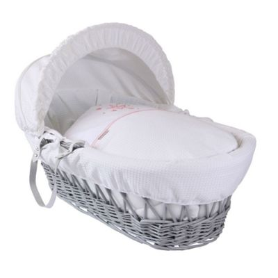 Clair de Lune Grey Wicker Moses Basket (Stardust Pink)