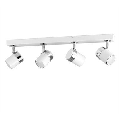 Rosie 4 Way Straight Bar Ceiling Spotlight, Gloss White & Chrome