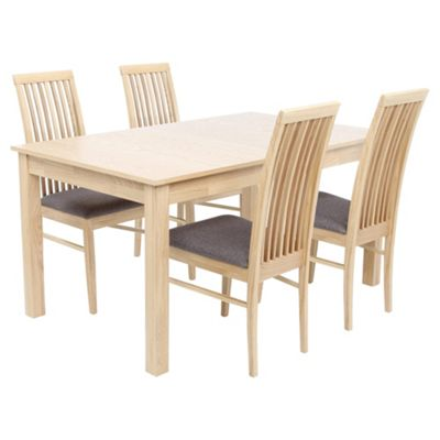 Brooklyn 4 6 Seat Extending Dining Table Set With Chairs Grey