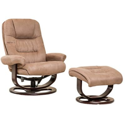Sofa Collection Porto Swivel Chair With Massage And Heat Function And Footstool - Light Brown