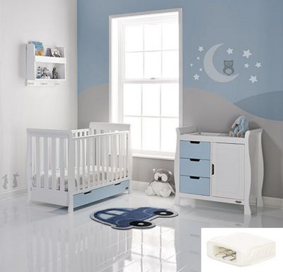 Obaby Stamford Mini Cot Bed 2 Piece + Sprung Mattress Nursery Room Set - White with Bonbon Blue