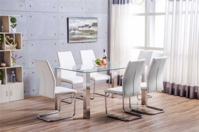 Salerno Glass And Brushed Stainless Steel Metal Dining Table And 6 White Lorenzo Chairs