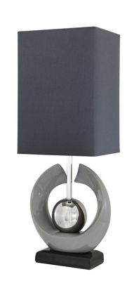 Grey Ceramic Cray Table Lamp with Grey Shade