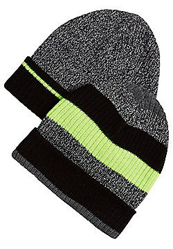 F&F 2 Pack of Neon Stripe Ribbed Beanies - Grey