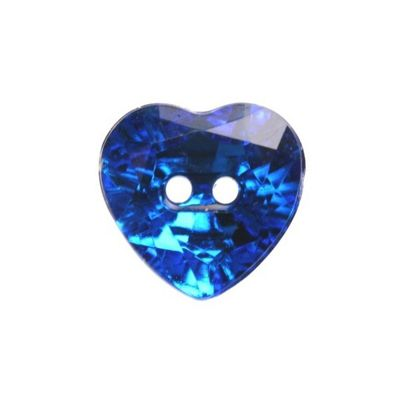 Hemline Royal Blue Crystal Heart Buttons 20mm 3pk