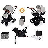 Ickle Bubba Stomp V3 AIO Travel System with 2 x Isofix Base + Mosquito Net Silver (Black Chassis)