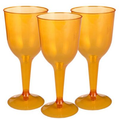 Orange Plastic Wine Glasses - 295ml - 20 Pack