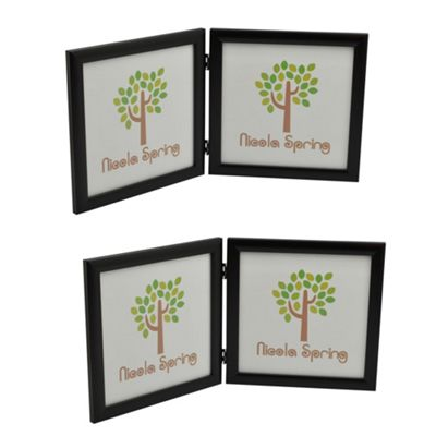 Black 8x8 Folding Double Photo Frame - Standing - Pack of 2