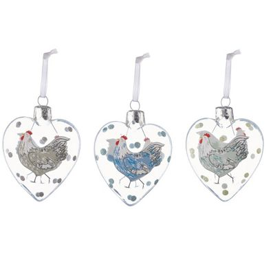 Set Of Three Glass Heart Hen Decorations