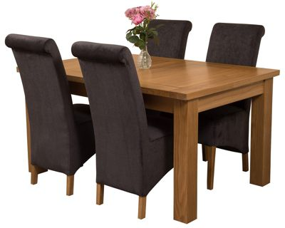 Seattle Extending Kitchen Solid Oak Dining Set Table + 4 Black Fabric Chairs