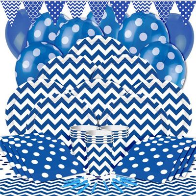 Royal Blue Chevrons Party Pack - Deluxe Pack for 16