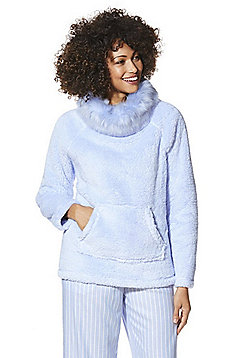 F&F Faux Fur Collar Fleece Cosy Top - Powder blue