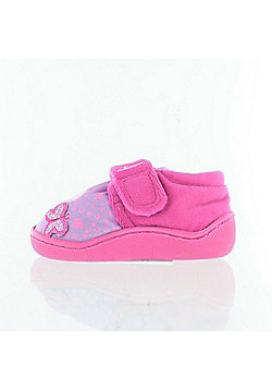 Peppa Pig Cerise Pink & Violet Slippers Girls Kids Hook and Loop Sizes 5 to 10 - Pink