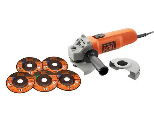Black and Decker KG115A5 115mm Angle Grinder & 5 Discs 750 Watt 240 Volt