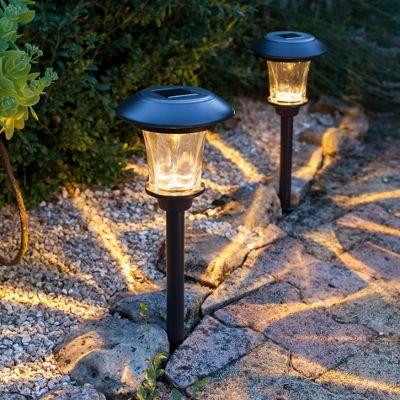 Pair of Warm White LED Glass Solar Garden Stake Lights