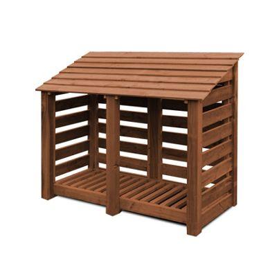 Hambleton wooden log store - 4ft - Rustic Brown - Slatted