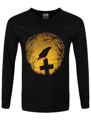 Crow Sunrise Men's Long-sleeve T-Shirt, Black.