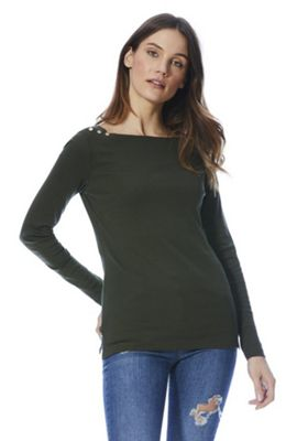 F&F Slash Neck T-Shirt with As New Technology Khaki 6
