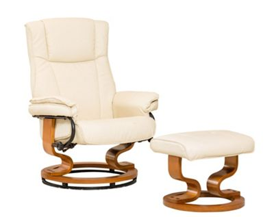 Sofa Collection Combault Swivel Chair With Massage And Heat Function And Footstool - Cream