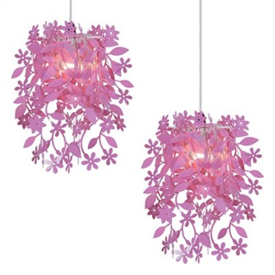Pair of Floral Pendant Ceiling Light Shades Pink