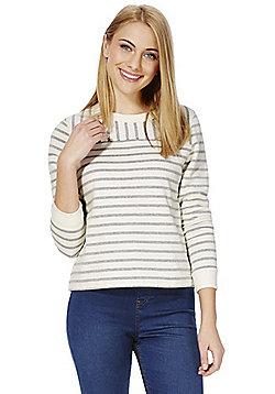F&F Striped Boxy Sweatshirt - Cream
