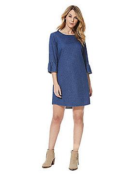 F&F Denim Bell Sleeve Dress - Blue