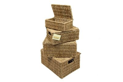 Woodluv Set Of 4 Seagrass Storage Basket With Lid