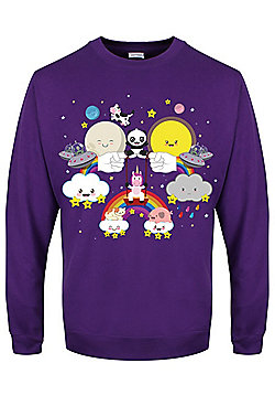 Rainbow Kingdom Women's Purple Oversized Boyfriend Sweater - Purple