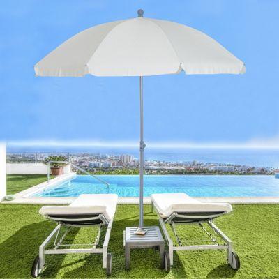 Outsunny Metal Beach Parasol Shading Tilt Sun Shelter 2.2m - Cream White