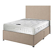 Happy Beds Signature Platinum 2000 Mattress Divan Bed Set Plain Headboard Cream
