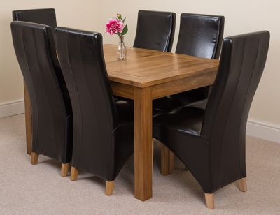 Cotswold Rustic Solid Oak Extending 132 - 198 cm Dining Table with 6 Black Lola Leather Chairs