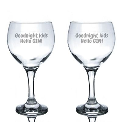 Rink Drink Engraved Spanish Gin Balloon Glasses - Hello Gin - 645ml - Pack of 2