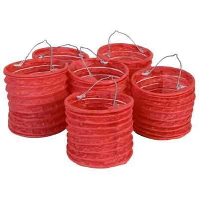 Set of 6 Hanging Red Paper Lanterns with LED Tealight Candles