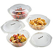 VonShef Set of 3 Glass Casserole Dishes with Lids