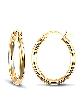 Jewelco London 9ct Yellow Gold Polished Oval shaped hoop Earrings