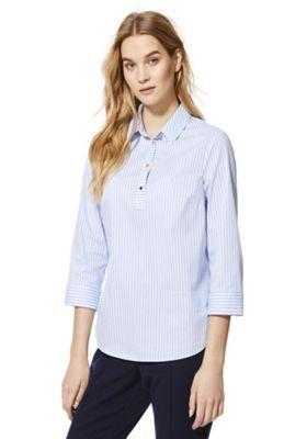 F&F Half Placket Striped Shirt Blue/White 10