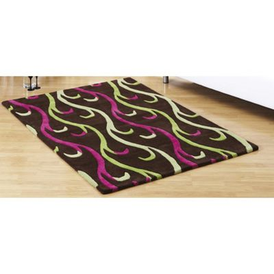 Ultimate Rug Co Floral Art Celosia Chocolate Contemporary Rug - 90cm x 150cm