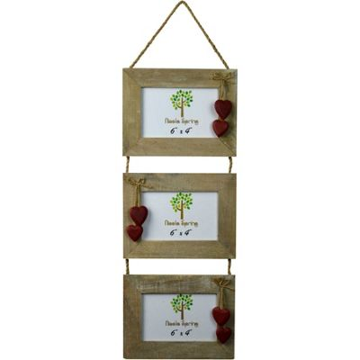 Triple Driftwood 3 Photo Hanging Picture Frame With Red Hearts - 6 x 4
