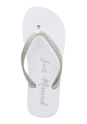 F&F Just Married Flip Flops White Adult 5-6