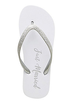 F&F Just Married Flip Flops - White