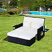 Outsunny Outdoor 2 Seater Rattan Daybed with Footstool in Black