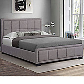 Happy Beds Hannover Grey Fabric Ottoman Storage Bed Memory Foam Mattress 4ft6 Double
