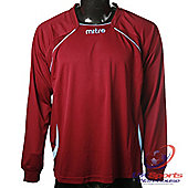 Mitre Boys Sopranox DryCool Long Sleeved Football Shirt Bordeaux / Blue - Red