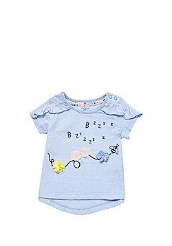 F&F Striped Applique T-Shirt - Blue/White