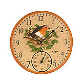 Outside In Robin Wall Clock and Thermometer 12in