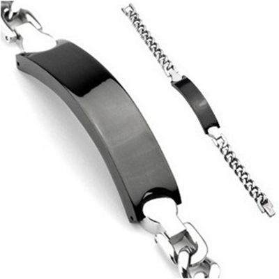 Urban Male Black & Silver Finish Men's Stainless Steel ID Bracelet